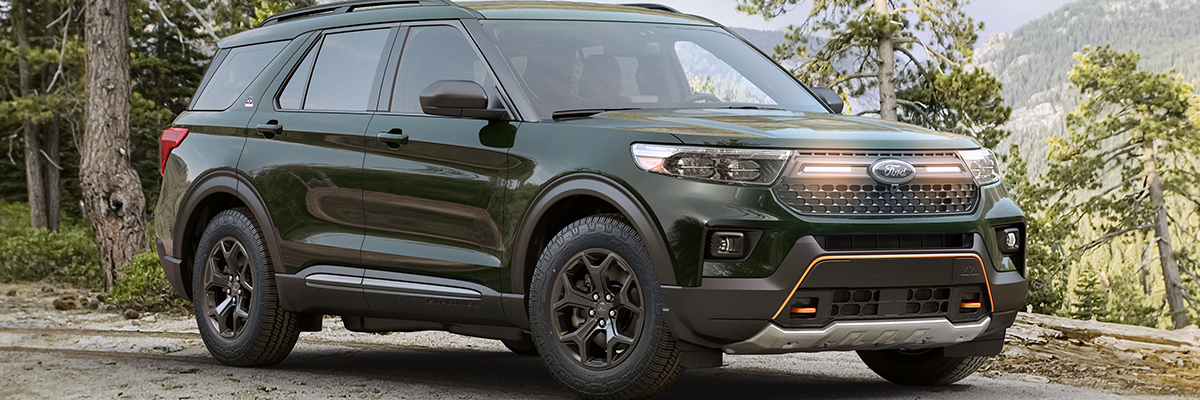 2021 Ford Explorer Timberline tackling adventures around a rugged landscape