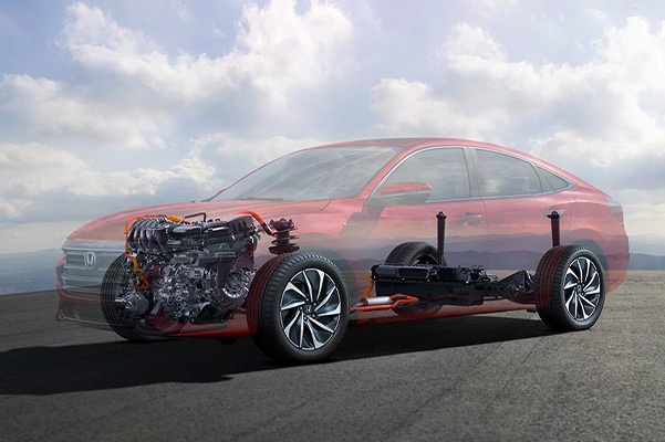 2021 Honda Insight Touring shown with it's 1.5-liter engine as well as electronic continuously variable transmission (e-CVT)