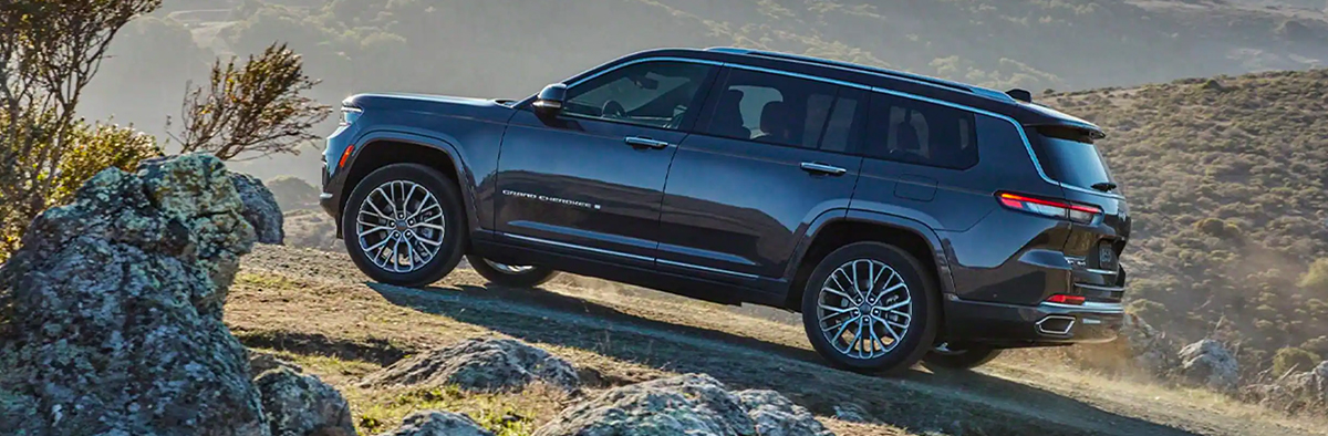 2021 Jeep Grand Cherokee L going up a trail