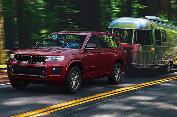 2021 Jeep Grand Cherokee L towing a camper