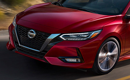 Close up shot of the front grill on a 2021 Nissan Sentra