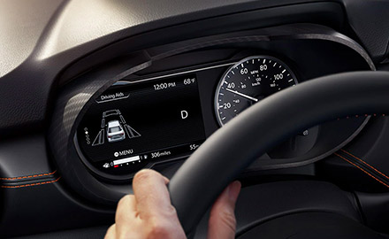 Interior shot of a 2021 Nissan Versa with advanced drive-assist display