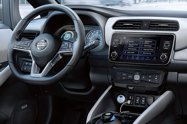 2022 Nissan LEAF dashboard view showing D-shaped steering wheel