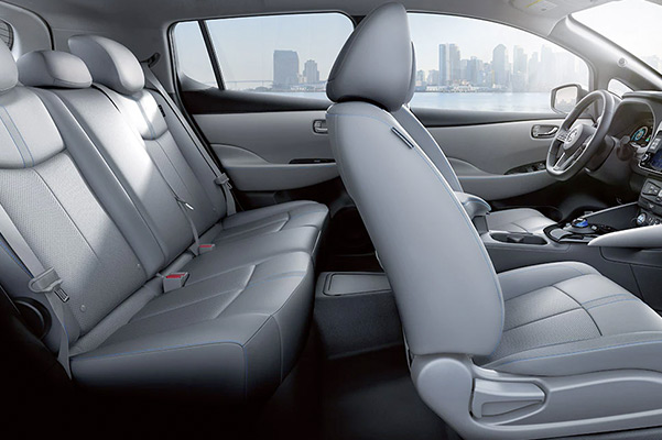 2022 Nissan LEAF interior view showing leather-appointed seating