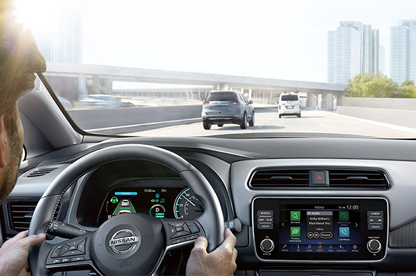 2022 Nissan LEAF interior view showing dashboard and center console