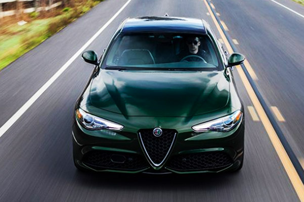 2020 Alfa Romeo Giulia driving down highway