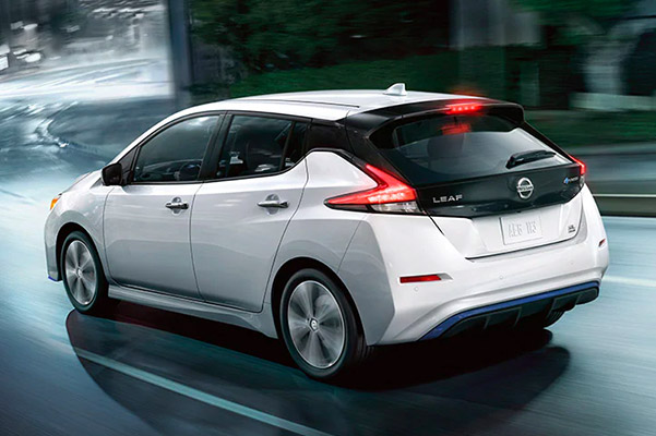 2020 NISSAN LEAF® driving rear view
