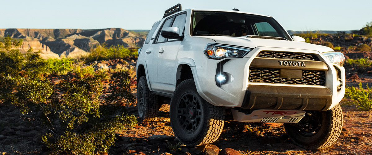 4Runner TRD Pro shown in Super White. Prototype shown with options.