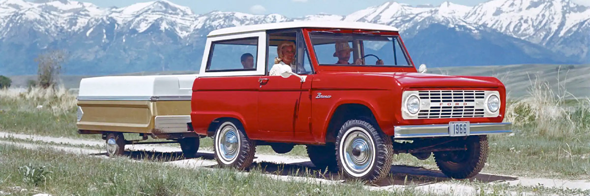 Vintage 1966 Ford Bronco in candy apple red