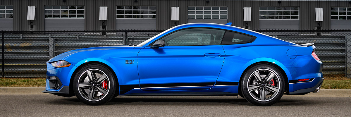 side profile of electric blue 2021 Mustang Mach 1