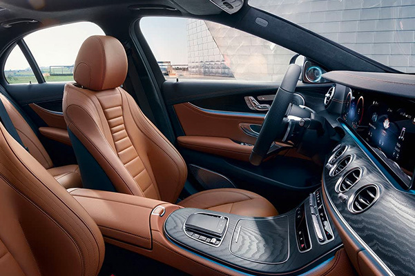 Interior shot of the front seats in a 2021 Mercedes-Benz E-Class