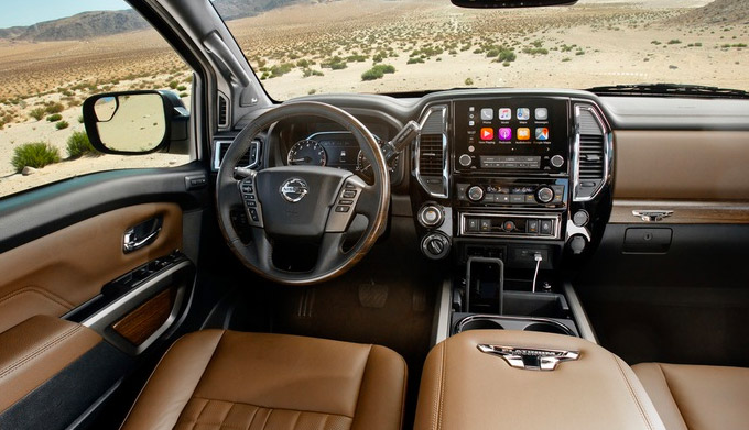 Interior shot of the 2021 Nissan Titan with touchscreen display