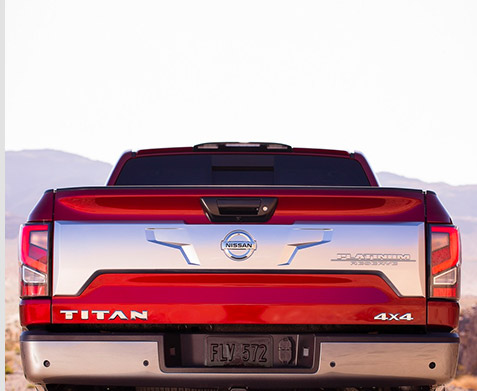 Rear view of the bed on the 2021 Nissan Titan