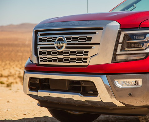 Close up of the grill on a 2021 Nissan Titan