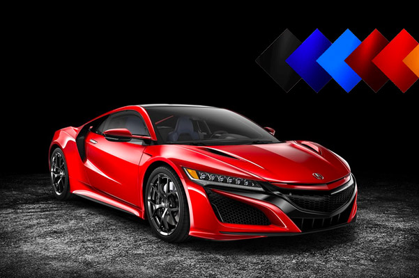 2021 Acura NSX pictured in a dark parking garage with color options