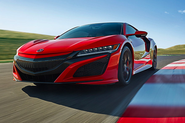 2021 Acura NSX driving around a track
