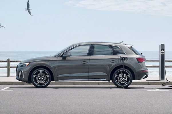 2021 Audi Q5 charging by waterfront