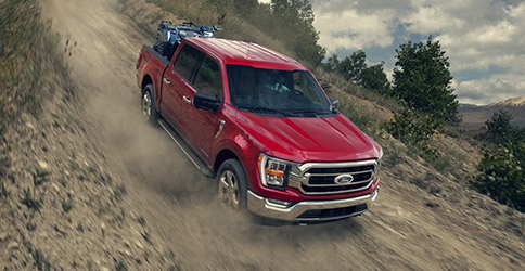 2021 Ford F-150 offroad on dirt trail