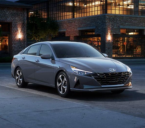 2021 ELANTRA in Gray front view