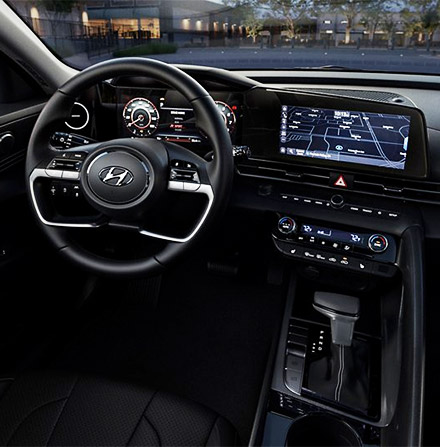 2021 ELANTRA in Black Leather dashboard and front consoul shown.