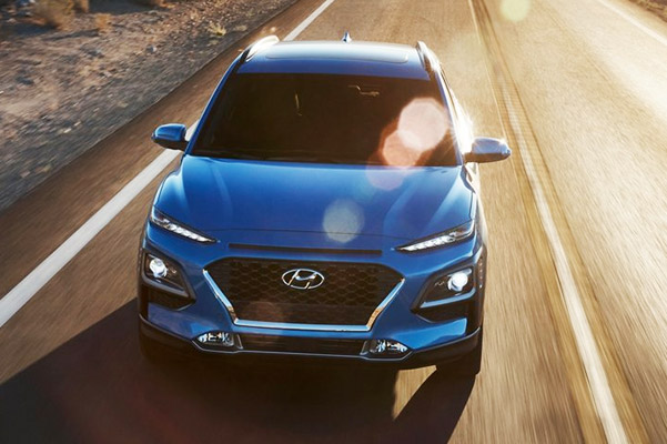 The 2020 Hyundai Kona  front view in blue