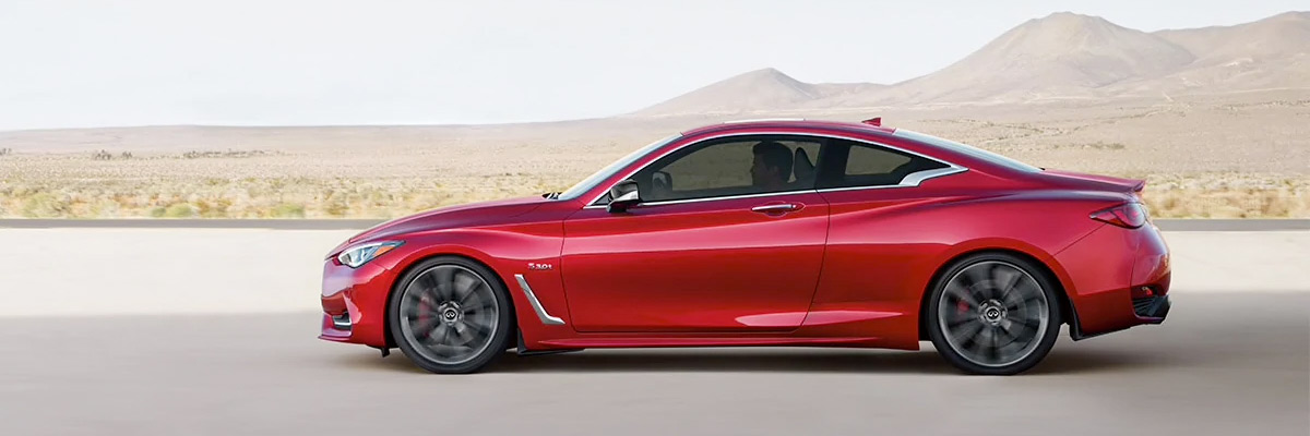 INFINITI Q60 RED SPORT 400 shown in Dynamic Sunstone Red color