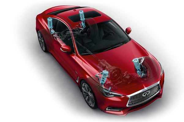 Exterior View Of 2021 INFINITI Q60 Coupe Highlighting Dynamic Digital Suspension Technology