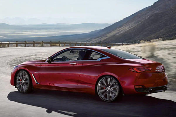 Side profile of 2021 INFINITI Q60 Coupe in red