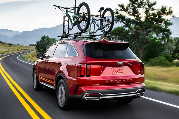 2021 Kia Sorento rear with bike rack