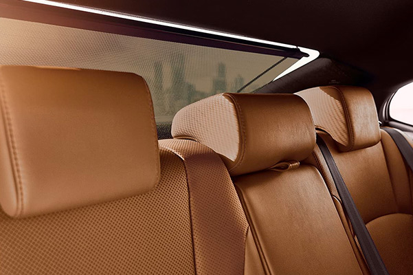 Interior shot of the back seats in a 2021 Lexus ES