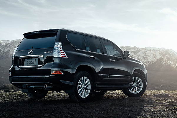 2021 Lexus GX parked offroad with a mountain top view
