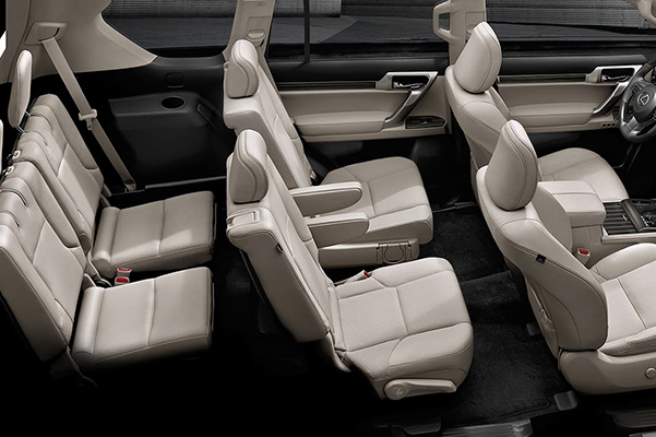2021 Lexus GX interior cutout that shows 3 row seating