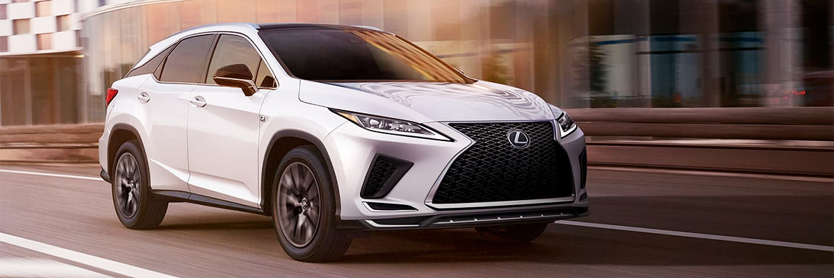 Exterior of the Lexus RX F SPORT shown in Ultra White.