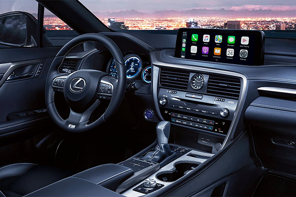 Interior of the Lexus RX showing the 12.3-inch touchscreen display.