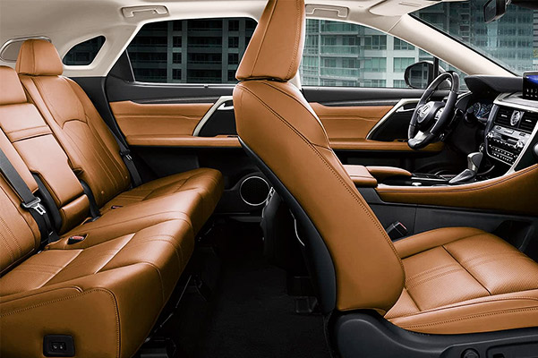 Interior of the Lexus RX shown with Glazed Caramel NuLuxe.