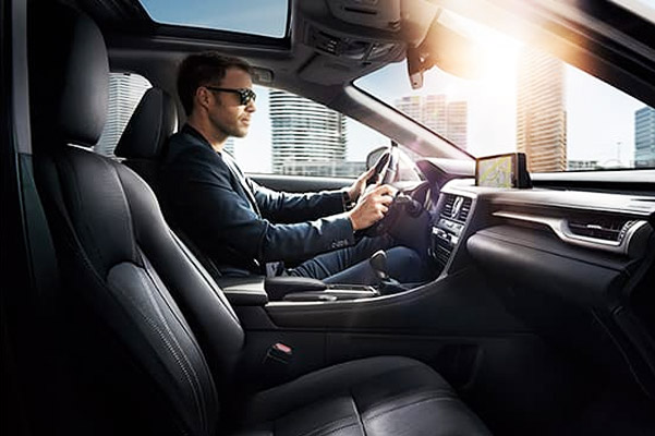 Interior of the Lexus RX shown with Black NuLuxe.