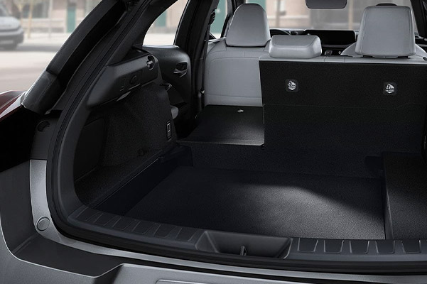 Interior shot of the trunk space in a 2021 Lexus UX