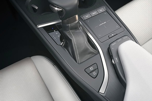 Close up shot of the gear shift in a 2021 Lexus UX