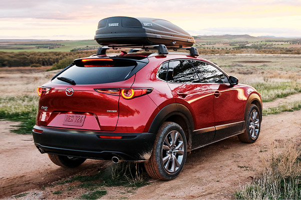 Rear view of Mazda CX-30 on on dirt road