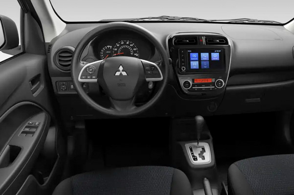 A close up view of the front driver and passenger seats in the 2021 Mitsubishi Mirage G4 interior.