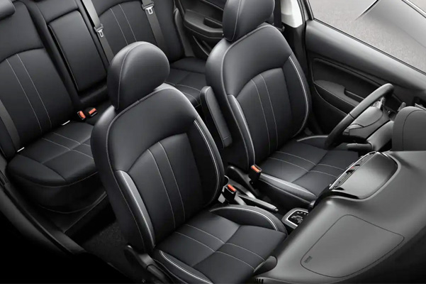 An overhead view of the two rows of seating found in the interior of the 2021 Mitsubishi Mirage G4.