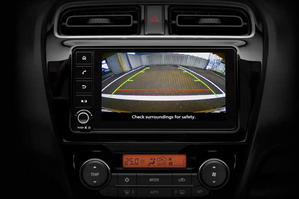 A close up of the rear backup camera display found in the interior of the 2021 Mitsubishi Mirage G4.