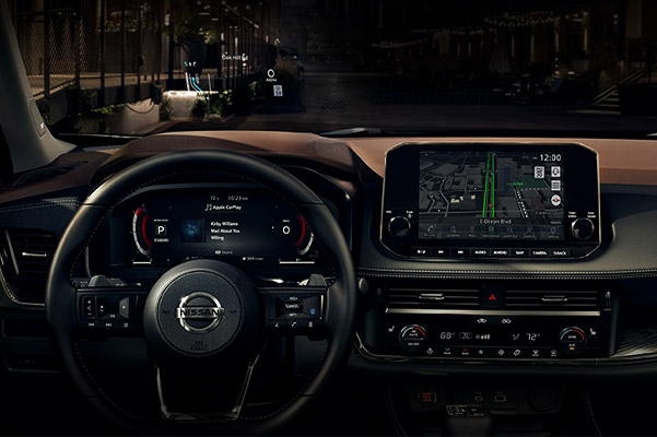interior view of Nissan Rogue showcasing Dashboard and digital screen