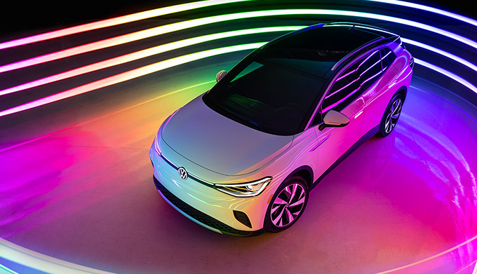 2021 Volkswagen ID.4 top donw view in colorful room
