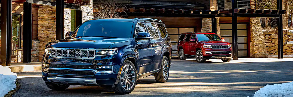 2022 Jeep Grand Wagoneer lineup in driveway