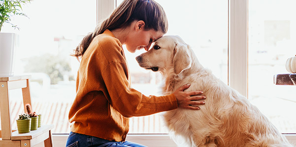 beautiful woman hugging her dog at home.