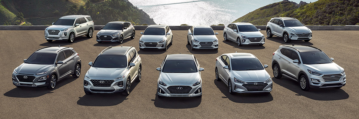 Hyundai 2020 vehicle lineup in silver