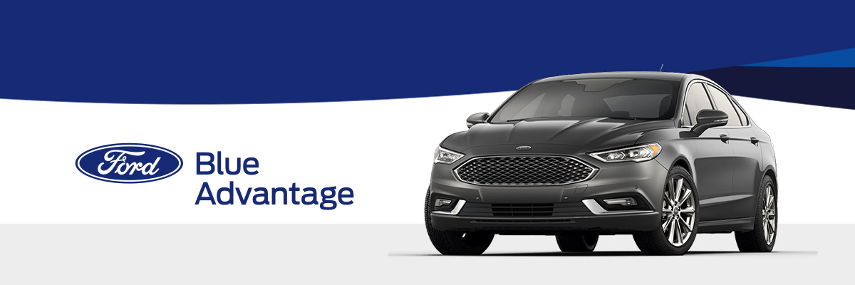 Ford Blue Advantage logo with 2018 Ford Fusion on a blue geometric background